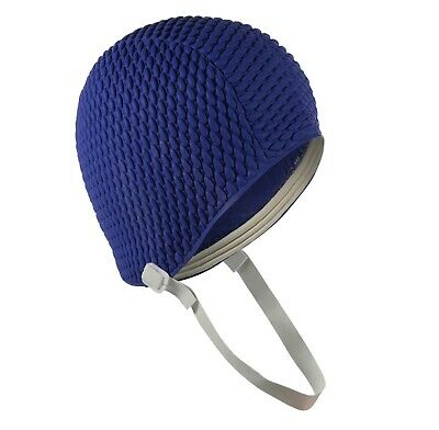 Ladies Swim Hat With Chin Strap Mens Swimming Cap Easy to Put On Navy Blue by Fine Saratoga
