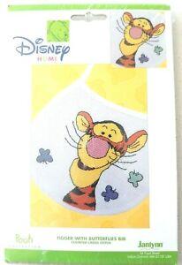 Janlynn-Disney-Tigger-With-Butterflies-Bib-Cross-Stitch-Kit-Pooh-Collection-baby