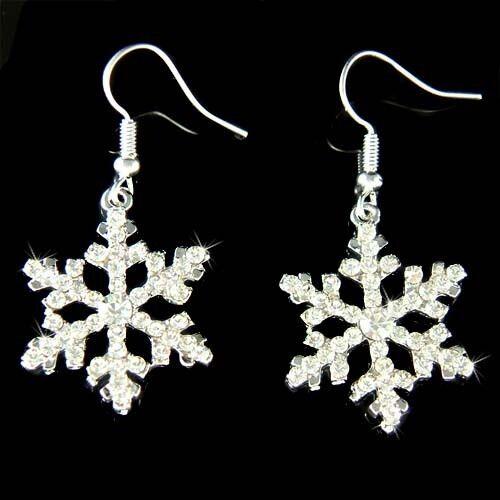 be50f02d7 W Swarovski Crystal Rhinestone Snow Flake Holiday Snowflake Xmas Earrings  Gift for sale online | eBay