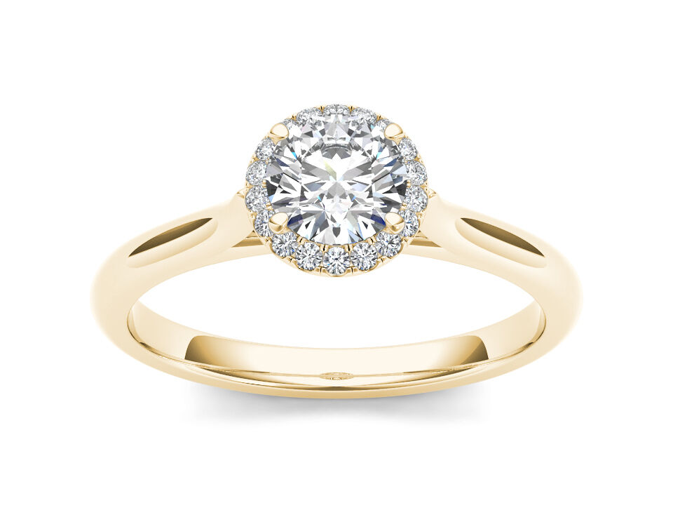 Solid 14K Yellow gold 0.50 Ct Natural Diamond Halo Engagement Ring