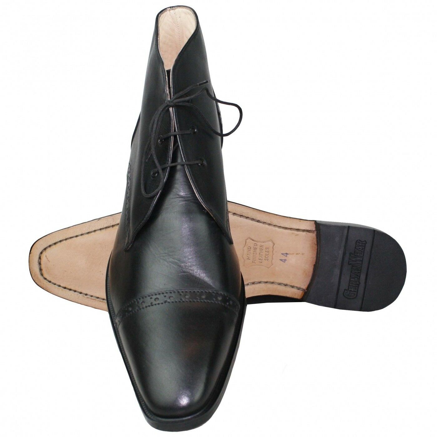 Business Stiefeletten Lederschuhe mit Ledersohle Schuhe schwarz