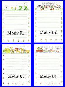 20-Blatt-Briefpapier-Motivpapier-fuer-Kinder-A4-liniert-4-Motive-zur-Wahl-NEU