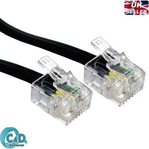 RJ11 to RJ11 Cable ADSL BT Broadband Modem Internet DSL Phone Router Lead Wire