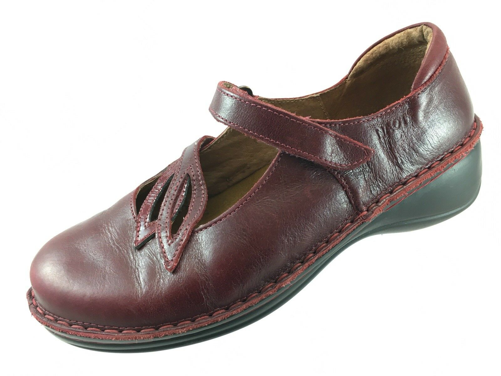 SH30 NAOT US 8 Dark Red Leather Mary Jane Comfort Flat shoes Leaf Israel
