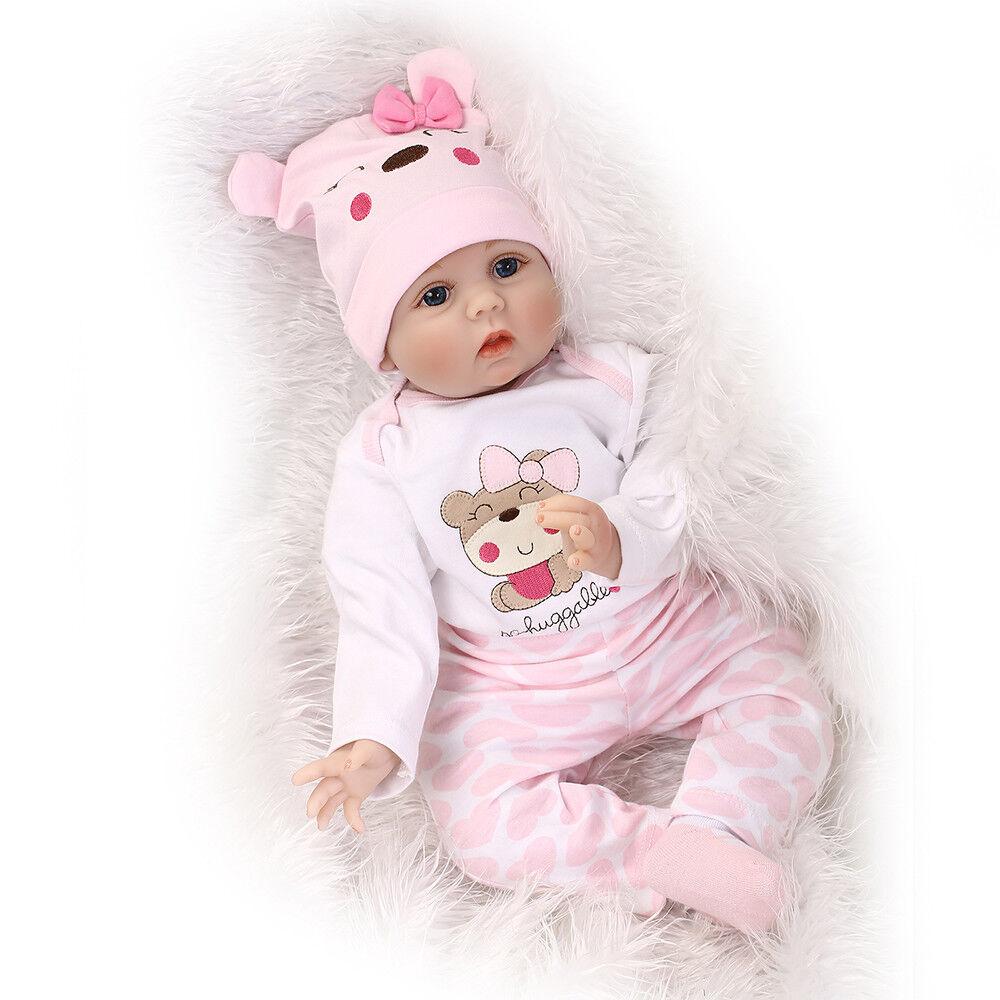 22 Zoll Lebensecht Handgefertigt Reborn Baby Puppe Weich Silikon Vinyl Mädchen