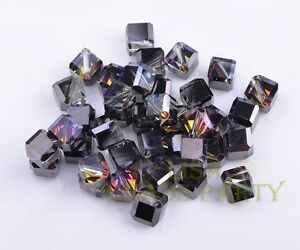 6mm-50pcs-Black-Half-Colorized-Faceted-Cube-Square-Crystal-Glass-Loose-Beads