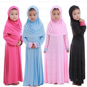 Child Abaya Girls Long Dress Hijab Arab Muslim Islamic