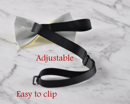 Men Women Baby Yellow and Grey 100/% Cotton Hand Made Bowtie Bow Tie Wedding