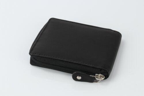 Nouveau RFID Hommes Noir Véritable Cuir Souple DEUX VOLETS Luxe Zip Around Carte Portefeuille