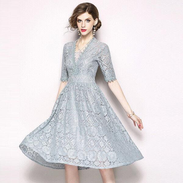 Kleid langes kleid weich hellgrau spitze event élégant hülle 3611