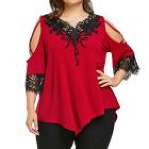 Tops De Mujer De Moda Blusas de Encaje Rojas Tallas Grandes Elegantes Plus Size