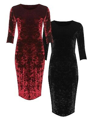 Womens Plus Size Crushed Velvet Long Sleeve Party Bodycon Dress Velour Top 14-28