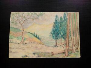 Superbe étude années 1920 - 1930 tableau paysage forêt et montagne