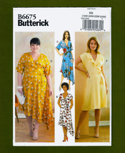 NEW-Wrap-Dress-Sewing-Pattern-Tie-Closures-Plus-Sizes-18W-24W-Butterick-6675