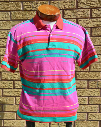 Vtg 80s 90s Neon Ralph Lauren Rugby Polo Shirt M/… - image 1