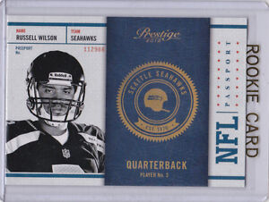 Details About Russell Wilson Prestige Nfl Passport Rc Football Rookie Card Seattle Seahawks