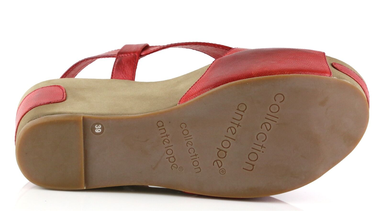 Antelope Woman's Red Leather Wedge Sandals 3252 Size 37 37 37 EU NEW dcebd2