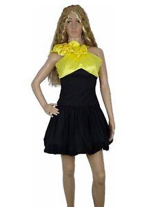 YNES-Women-Dress-Silk-Shiny-Wet-Look-One-shoulder-ALIne-Pinup-Ruffle-Small