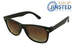 Childrens-Black-Frame-Sunglasses-Kids-Childs-Shades-Brown-Gradient-Lens-KR013