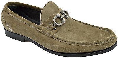 $640 SALVATORE FERRAGAMO Gray Beige Suede Leather Loafers Dress Men Shoes 41 / 7