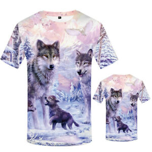 3D-Wolf-Print-Funny-T-Shirt-Men-039-s-Casual-Fashion-Summer-Tees-Short-Sleeve-Tops