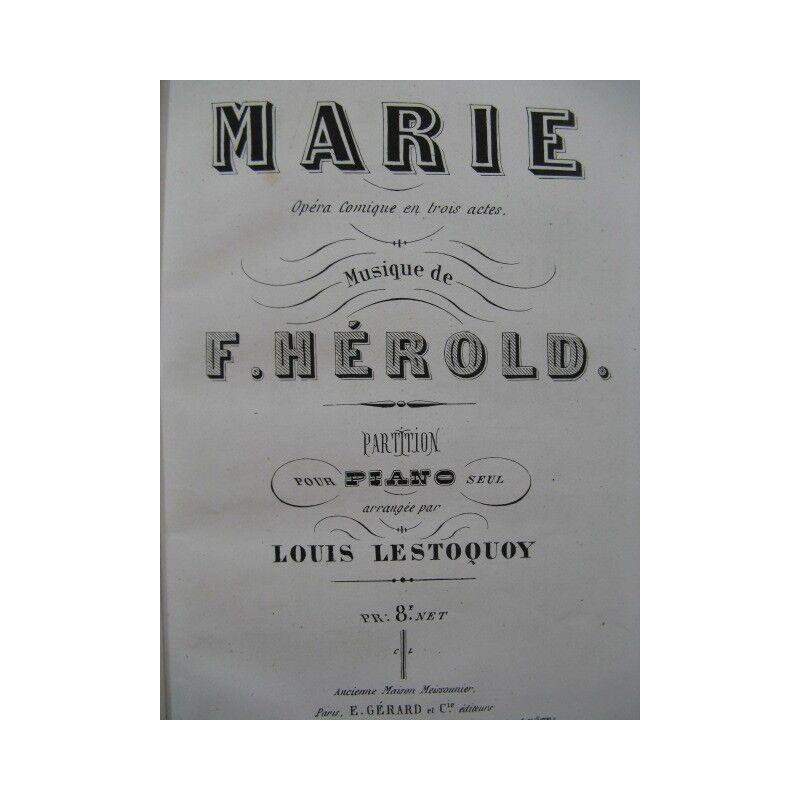 Herold Ferdinand Marie opéra Piano Solo ca1870 Partitur Sheet Music Score