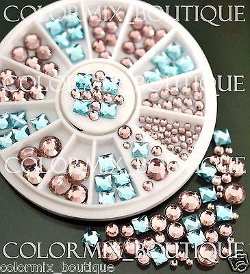 #R47 Nail Art Tips Decoration Blue Pink Square Round Glass Rhinestones+Wheel