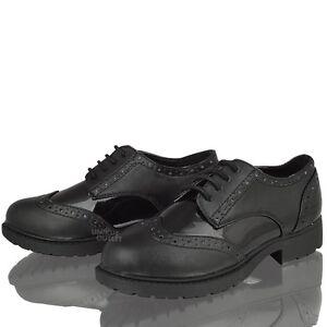 Enfants-Filles-Brogue-a-Lacets-Noir-Patient-Decontracte-Chic-Chaussures-D-039-Ecole