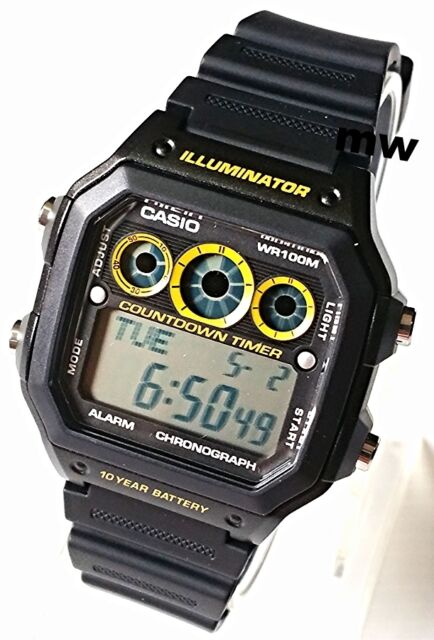 Casio Collection AE-1300WH-1A Black Illuminator Chronograph Men's Watch New