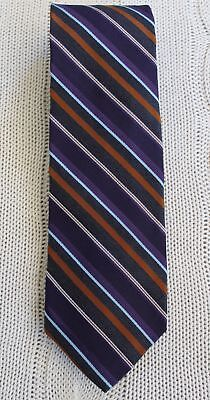 Robert Talbott Best Of Class Purple Blue And Orange Stripe Woven Silk Tie
