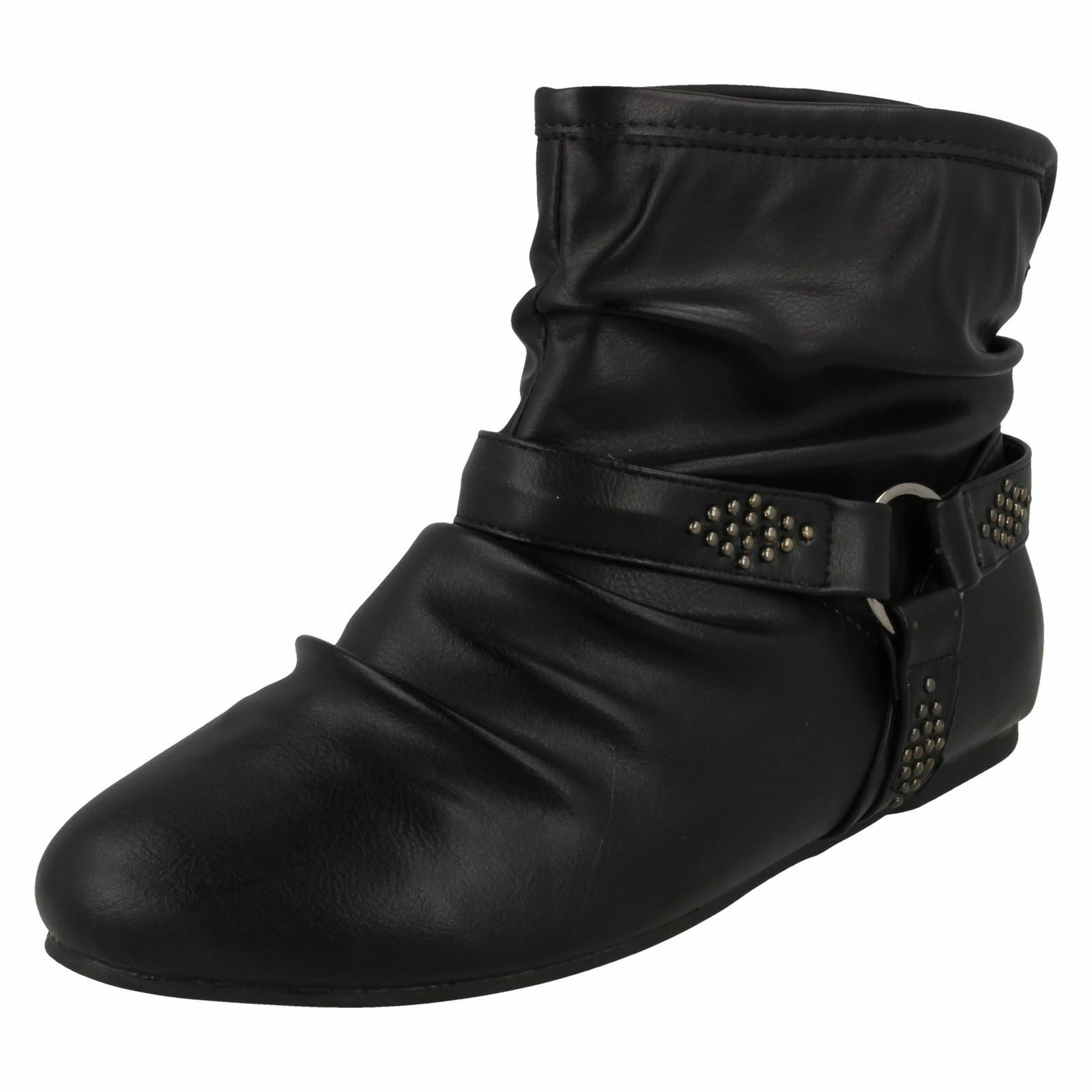 Spot On Ladies Flat Ankle Boots