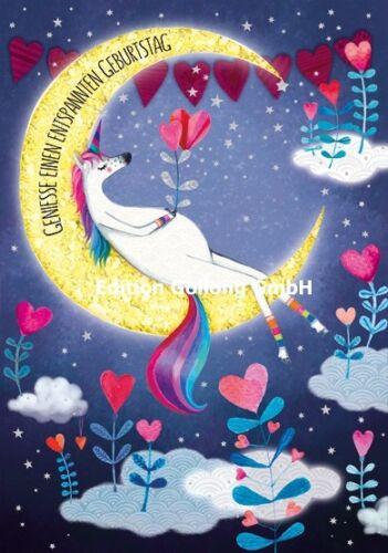 MILA MARQUIS*Doppelkarte*Einhorn im Mond*Geniese einen entspannten Geburtstag*