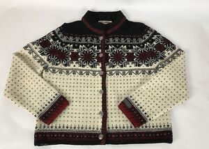 Dale-Of-Norway-Classic-Pewter-Clasp-Nordic-Fair-Aisle-Cardigan-Sweater-XS-S