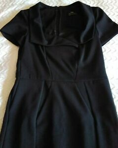 CUE DESIGN BLACK CROSS COLLARED PENCIL DRESS SIZE 10. GREAT CORPORATE WEAR.