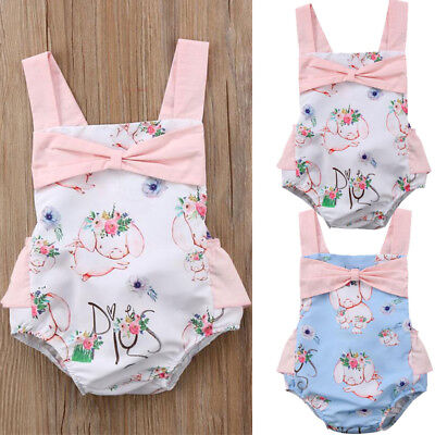 US Toddler Kid Baby Girls Jumpsuit Romper Bodysuit Clothes Outfits Set Summer