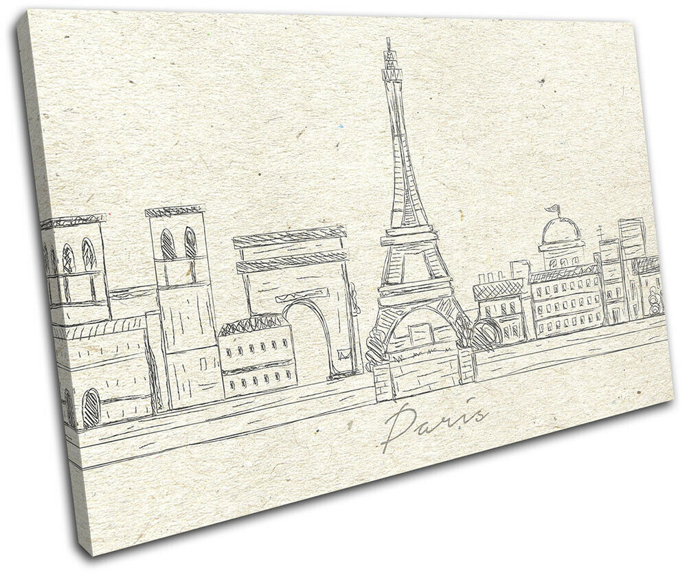 Paris Landmarks City Sketch Illustration SINGLE TELA parete arte foto stampa