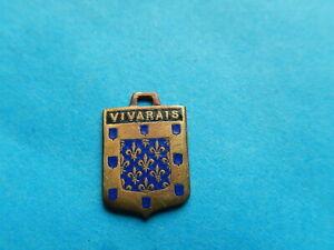 Vintage Enamel french Travel Shield Charms VIVARAIS FLEUR DE LYS  VITAM