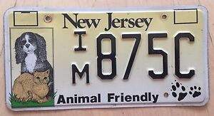 Details about NEW JERSEY ANIMAL FRIENDLY LICENSE PLATE IM 875C NJ DOG DOGS  CAT CATS PETS DVM