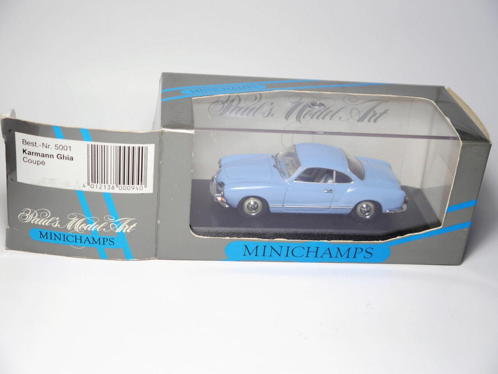VW Karmann Ghia Coupe 1955-59 hell blau light Blau, Minichamps 5001 1 43 boxed    Authentisch