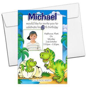 10 personalised boys girls dinosaur birthday party photo invitations image is loading 10 personalised boys girls dinosaur birthday party photo filmwisefo