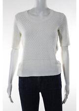 Balenciaga Paris White Pointelle Knit Short Sleeve Sweater Size 40