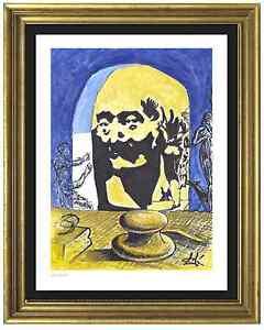Salvador-Dali-Signed-Hand-Numbered-Ltd-Ed-034-Bust-Voltaire-034-Litho-Print-unframed