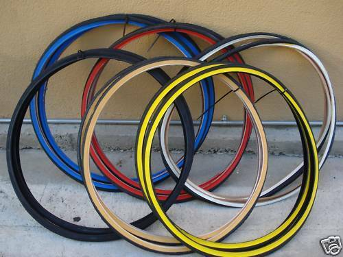 1 TIRE  26X1 3//8 COLOR WALL BICYCLE ROAD BIKE 26 X 1 37-590 red white blue black