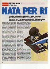 W18 Ritaglio Clipping 1991 Formula 1 Anteprima Ligier JS35