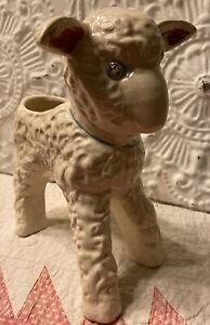 VINTAGE-1950-039-s-Ceramic-Lamb-Planter-Ivory-With-Blue-Bow-Baby-Boy-Flower-Pot
