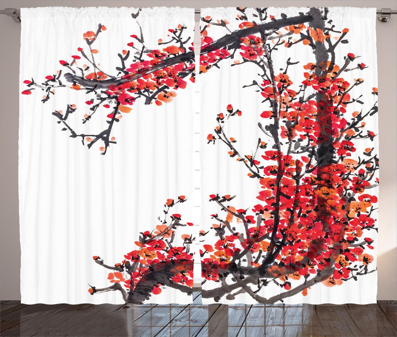 Japanese Decor Curtains Blossom Sakura Window Drapes 2 Panel Set 108x84 Inches