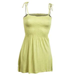 Sexy-Yellow-Summer-Cami-Strappy-Bandeau-Bardot-Holiday-Maternity-Smocked-Top