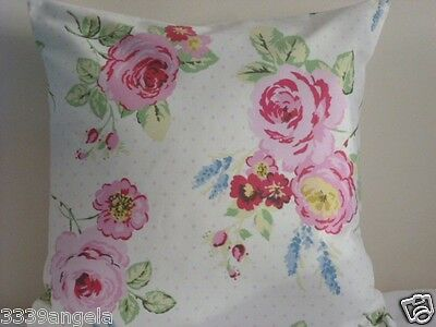 "16"" NEW CUSHION COVER CLARKE SHABBY CHINTZ  CHIC ENLGISH ROSE PINK DOTS  FLOWERS"