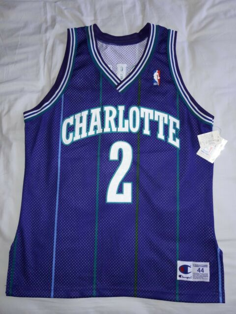 ff9d90ba5 NEW NWT ADULT 44 CHAMPION  2 LARRY JOHNSON SEWN JERSEY CHARLOTTE HORNETS  STITCH
