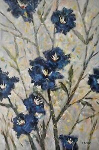 Original-Acrylic-Painting-Flower-Art-on-Canvas-034-Blue-flora-034-by-Hunoz-24-x-36-034